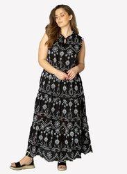 Długa, haftowana suknia 3 falbany