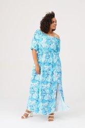 Długa, przewiewna sukienka plus size z rozporkiem na nodze