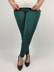 Długie malachitowe spodnie strecz z wąską nogawką  CEVLAR
