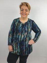 Elegancka tunika z szyfonowymi paskami