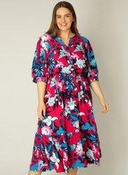 Kolorowa, letnia sukienka w kwiaty xxl z falbaną