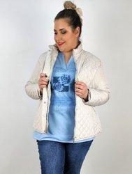 Krótka przejściowa, pikowana kurtka plus size na stójce