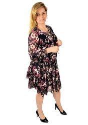 Szyfonowa sukienka z falbanami kwiatowy wzór 3