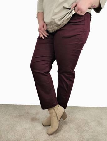 Bordowe spodnie jeans na gumie PLUS SIZE