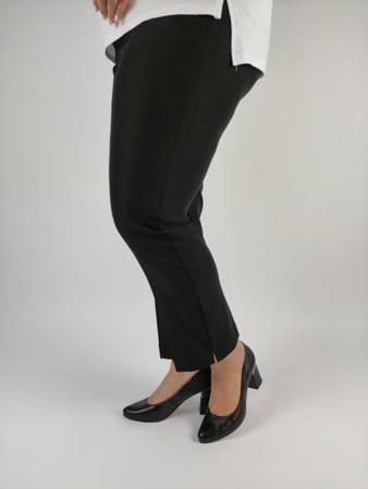Czarne, eleganckie  spodnie xxl ze streczem z pęknięciami