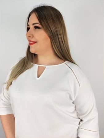 Elegancka, ecru bluzka xxl  z łezką przy dekolcie