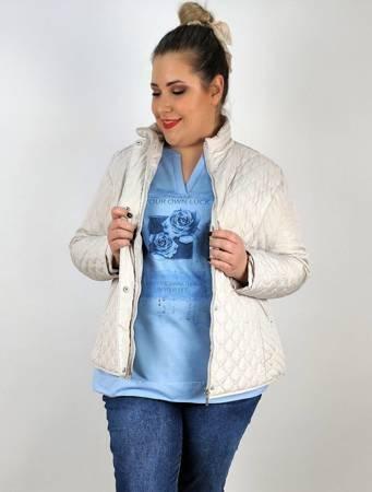 Krótka pikowana kurtka na wiosnę plus size